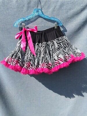 Tutu Couture Girls Skirt SZ L Neon Pink w Black & White Dance Dress Up Costume