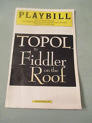 Broadway Playbill Fiddler on the Roof starring TOPOL Hippodrome Baltimore MD