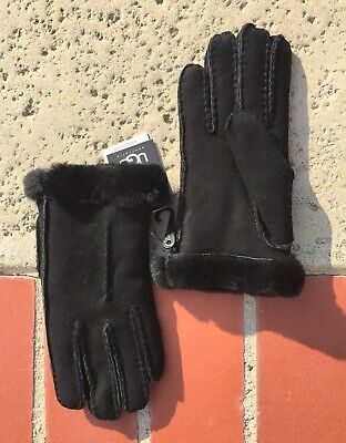 NWT Ugg Womens Single Point Glove Size L Suede Black Shearling Sheepskin Lined