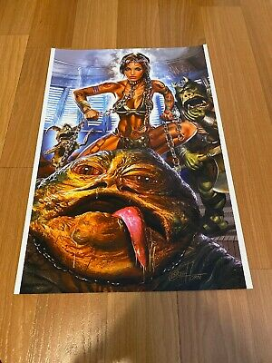 Greg Horn Comic Kunst Lithographie Aufdruck Star Wars Princess Leia Jabba 13x19