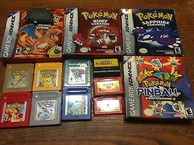Original Gameboy Color Lot POKEMON Collection: Special, Red, Blue, Ruby Fire