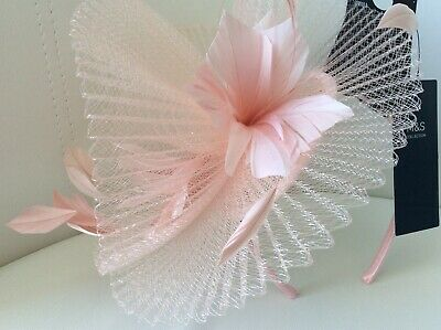 marks and spencer Light Pink Feather & Tulle fascinator Hat - New