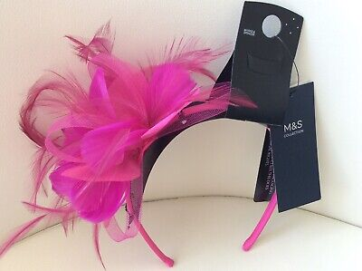 marks and spencer PINK Feather With Jewels fascinator New