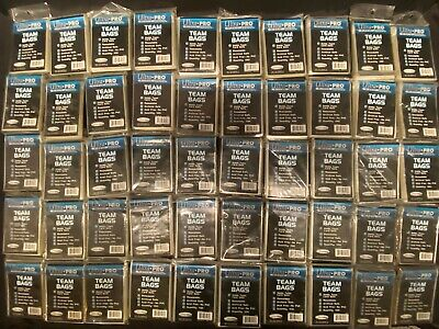 50 Packs 100 Ultra Pro Team Bags Resealable Sleeves Holds Card Sets Top Loaders