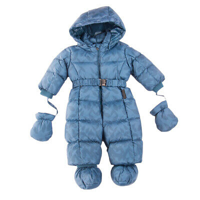 RRP €240 ADD Down Quilted Snowsuit Size 6M Detachable Hood Leaf Pattern Belted