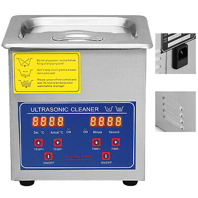 Digital Ultrasonic Cleaner Stainless Steel Heater Timer 1.3L CE approved