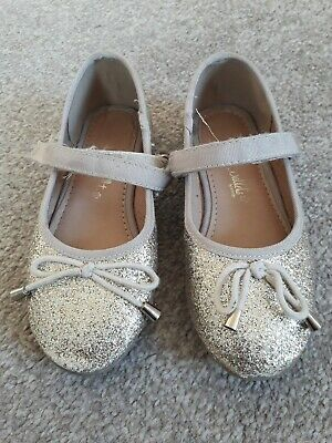 Girls Party Shoes Size 9 Gold Glitter Sparkly
