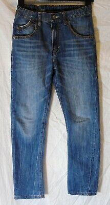 Boys Zara Mid Blue Whiskered Denim Straight Relaxed Leg Jeans Age 9-10 Years