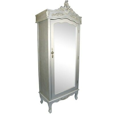 French White / Cream Chateau Shabby Chic Mirrored Single Door Armoire Wardrobe