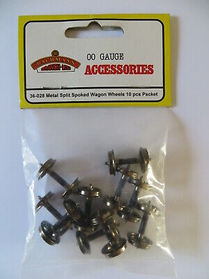 Bachmann 36-028 OO Gauge Metal Split Spoked Wagon Wheels Pack 10