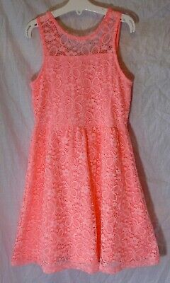 Girls TU Coral Pink Butterfly Lace Fully Lined Sleeveless Dress Age 8 Years