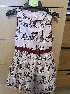 Marks & Spencer M&S Girls Pink Paris Scene Party Dress 3-4 Years
