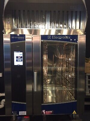 Electrolux TOUCHLINE air-o-steam level A combi oven withhood and fan.