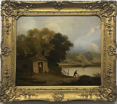 Early 19th Century antique oil painting on canvas lake scene with figures