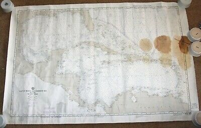 Vintage Map Gulf of Mexico Carribbean Defense Hydrographic maritime navigational