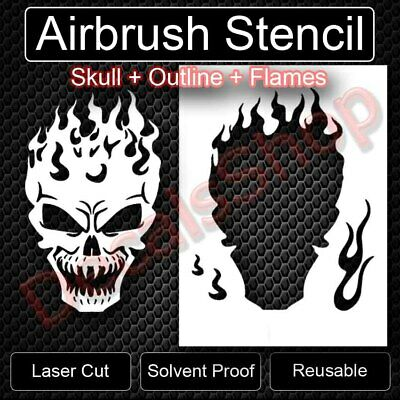 "/""Wing /& Fire Skulls/"" Airbrush Stencil Template Airsick"