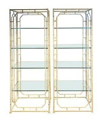 Pair of Mid Century Modern Hand Painted White Metal Etageres Shelving Units