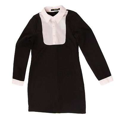 RRP €120 RELISH Shift Dress Size 12Y Bib Front Two Tone Long Sleeve Classic Neck