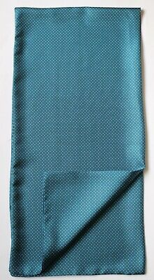 """Soft Silk Cravat Scarf. Teal blue with white pin dot spots 40"""" x 9.5"""" Hand made"""