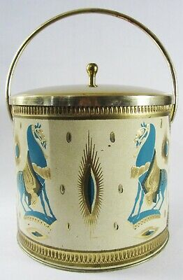 Vintage Mid Century Ice Bucket Fred Press Trojan Horse Blue Turquoise Cocktail