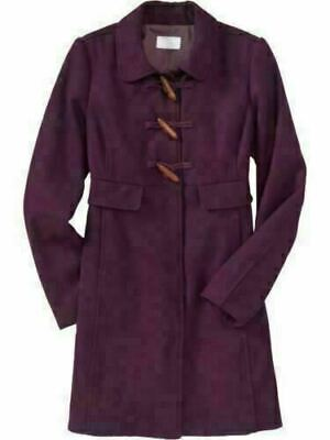 OLD NAVY Women's Long WINTER WOOL TOGGLE COAT JACKET Plumb Petite Small PS  New!