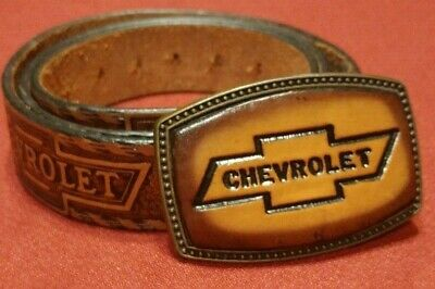 Vintage Chevrolet Leather Belt Buckle and Leather Belt USA 38 Cowhide