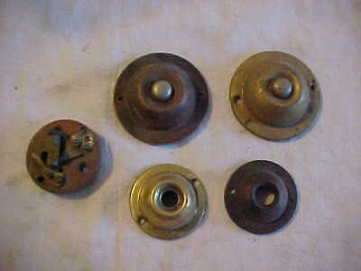 5 Antique Door Bell Pieces Some Incomplete 3 Brass 1 Plated