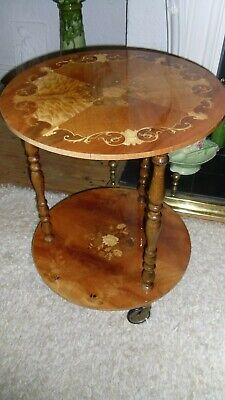 Italian Marquetry Inlaid Wood Table Sorrento Hostess Vintage Two Tier Trolly