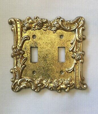 Vintage CHARM-N-STYLE 602 LR 26707 Brass Double Floral Rose Switch Plate Cover