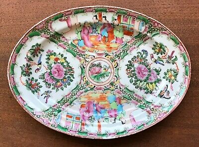 Chinese Export Porcelain Famille Rose Medallion Oval Dish Plate