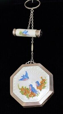 STUNNING Antique *STERLING ENAMEL GUILLOCHE* Compact & LIPSTICK TANGO SET Birds!