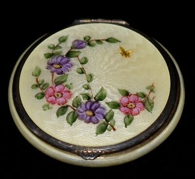 Magnificent Antique F & B STERLING Hand Painted Floral ENAMEL GUILLOCHE Compact