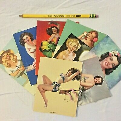 Brown & Bigelow 1950s Pinup Promo Cards - Set of 8 - Bettie Page!