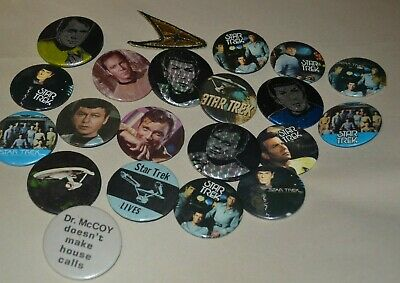 Vintage Star Trek Pins Pinback Button Lot Of 20 Glitter Holographic Sepia