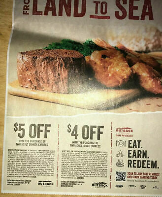 *NEW* (2 SHEETS) 4 OUTBACK STEAKHOUSE Restaurant Coupons ~ 3/22/20 ~ FAST SHIP!