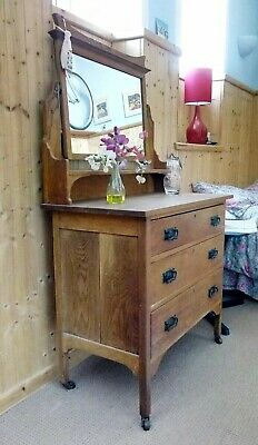 Vintage antique dressing table oak, Arts and Crafts style shabby chic