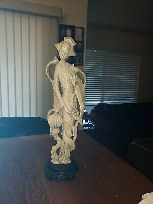 """Large 20"""" Vintage Carved CHINESE Figure Ivory Colored Resin WOMAN & BIRDS Statue"""