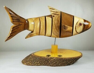 FISH with stand Wooden Carved pen holder flexible made in Thailand Rustic