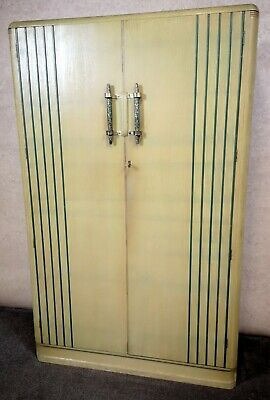 Art Deco Oak Limed Green Wardrobe