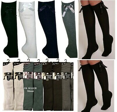 Girls Knee High School Socks With Bows Long Cotton Rich Party Socks 3 Pairs