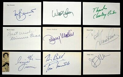 """1960s SIGNED 3x5"""" Music Cards Diana Ross Cahn Mathis Campbell Como LOA (18pcs)"""