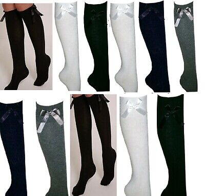 With Bow Socks Knee High School Girls Socks For Girls Navy ,Black, White & Grey