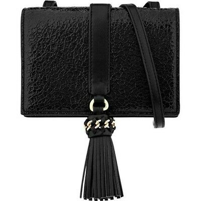 Reiss Jarvis Mini Black Tassel Shoulder Strap Handbag