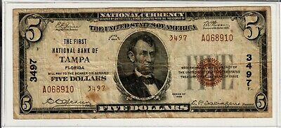 1929 $5 Type 2 National Banknote -- The First National Bank of Tampa, Florida