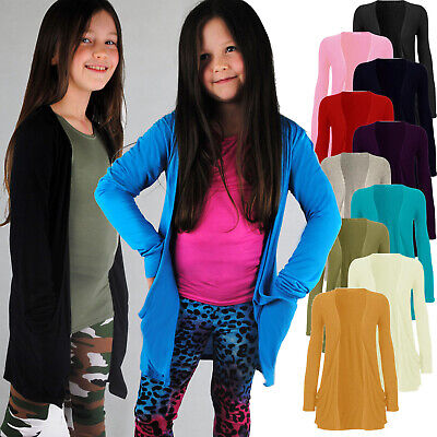 Childrens Kids Girls Slouch Boyfriend Cardigan Long Cardi Large Pockets 7 - 13