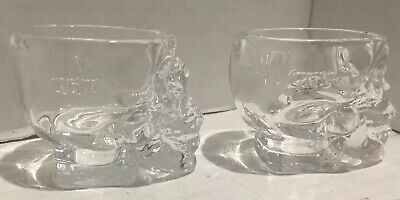 Set of 2‼ Authentic Glass Crystal Head Vodka Skull Shot Glasses Dan Akroyd