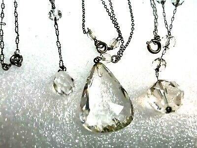 Antique Art Deco Sterling Silver Genuine Quartz Rock Crystal Pendant Necklace X3