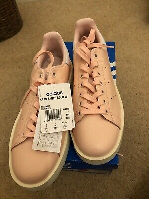 adidas Orig NEW Womens Stan Smith Bold Platform Lace Up Low Rise Trainers - UK7