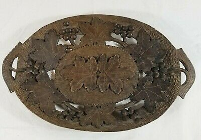Vintage Black Forest Tray Carved Wooden Wood Carving Decorative Bavarian