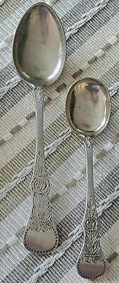 2 Vintage Norway 830S Silver Spoons  Flat Rose Pattern Th Marthinsen 64 grams